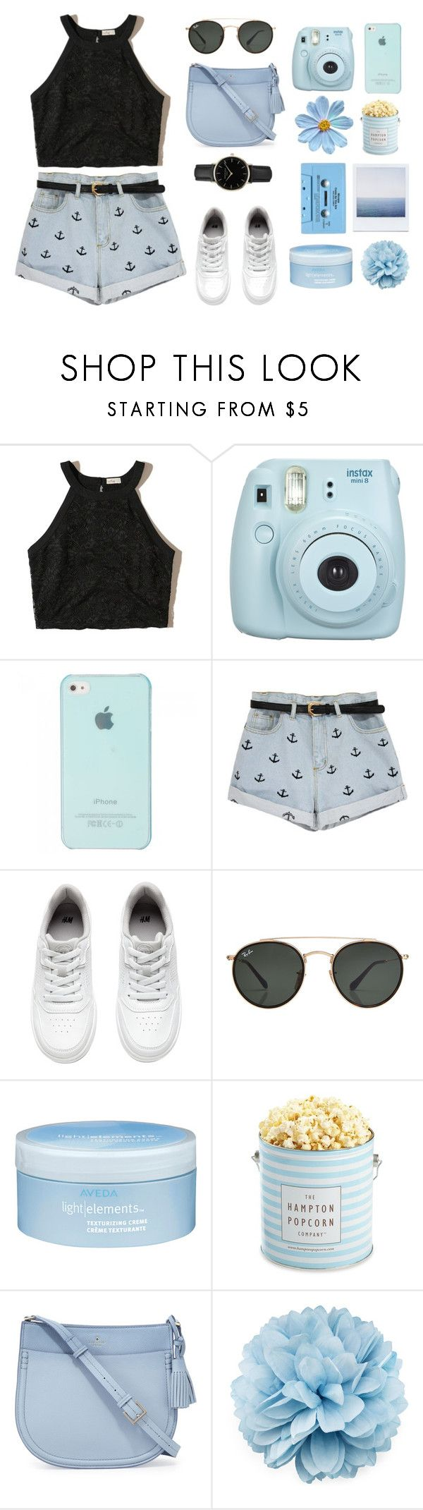 """Untitled #235"" by azizanisafitri on Polyvore featuring Hollister Co., Fujifilm, H&M, Ray-Ban, CASSETTE, Aveda, The Hampton Popcorn Company, Kate Spade, Gucci and ROSEFIELD"