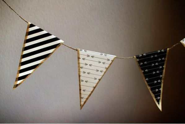 Black, white, and gold DIY bunting