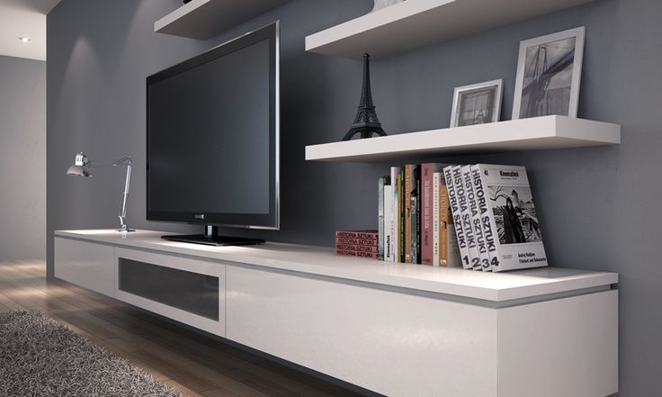 entertainment unit with floating shelves