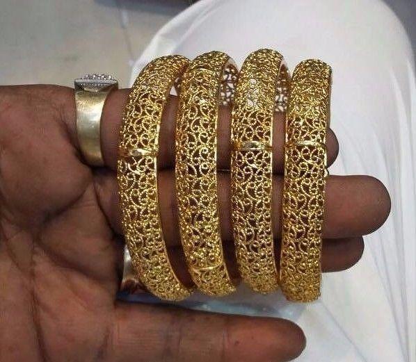 Indian Wedding Bangles Bracelet Set Goldtone Party Wear Women Jewelry 4 Pc 2.6/8 #Handmade #Bangle