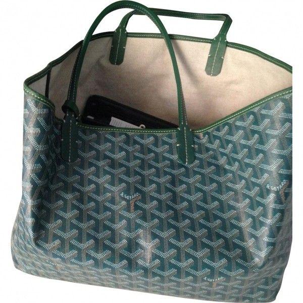 Green Leather Handbag GOYARD ($780) ❤ liked on Polyvore featuring bags, handbags, genuine leather handbags, genuine leather purse, real leather purses, blue handbags and green leather purse