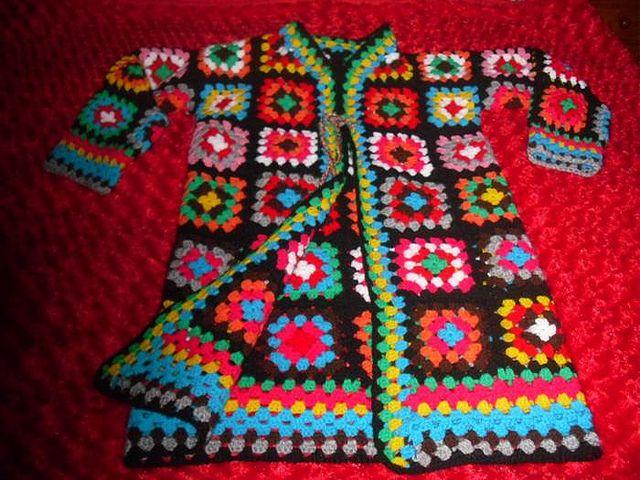 Granny square crochet jacket by Azu Baron