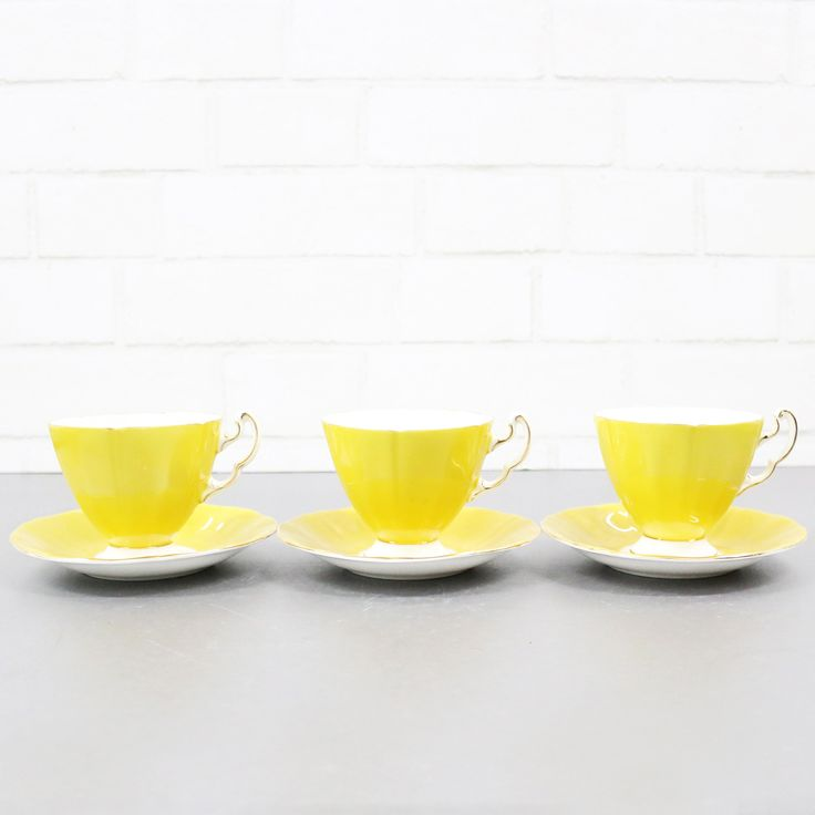 Yellow Tea Cup And Saucer Set, By Ridgeway Potteries England