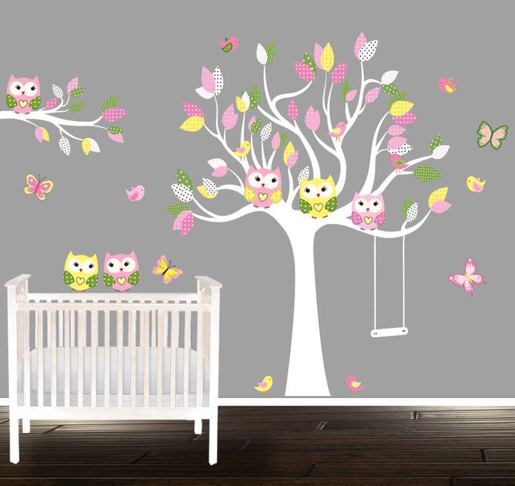 Best Girls Owl Wall Decals Nursery Decal Girls nursery tree wandtattoo eule by BeautifulWalls
