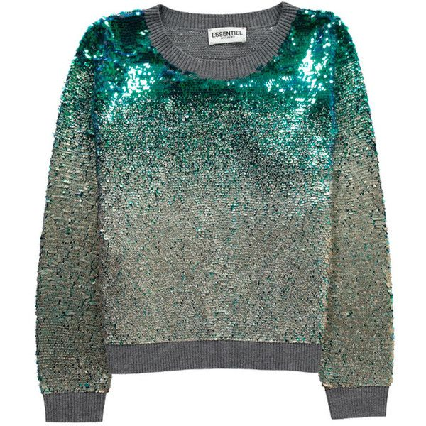 Essentiel Murene Sequin Sweater - Jasmin Green ($270) ❤ liked on Polyvore featuring tops, sweaters, jasmin green, green top, scoopneck top, scoop neck top, ombre sweater and green jumper