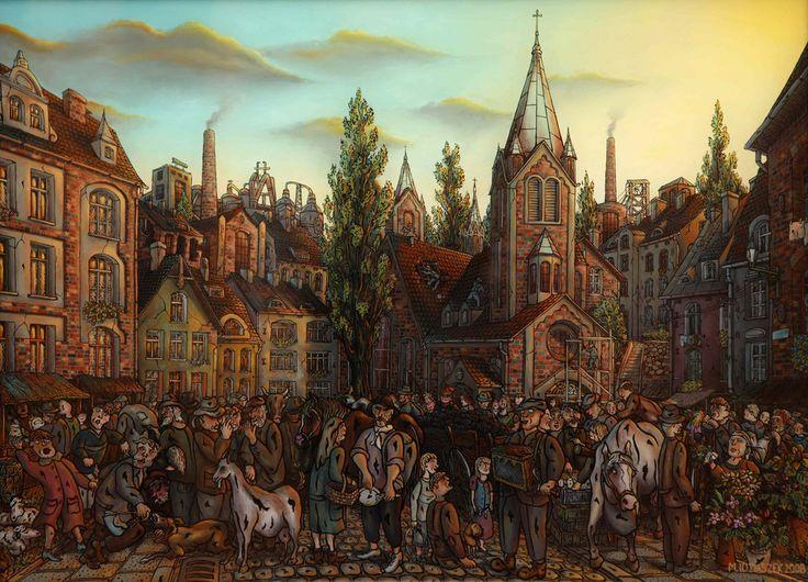 """""""Jarmark na Kościelnej"""",""""Fair on the Kościelna street"""" oil painting on glass"""