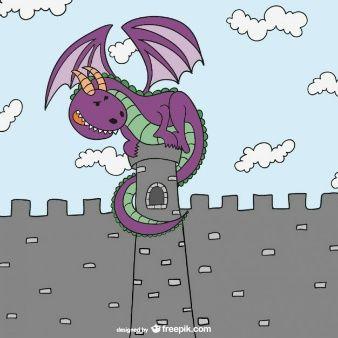 Dragón y castillo de cuento de hadas