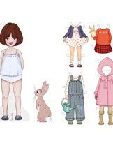 Belle and boo paper doll / dress up doll
