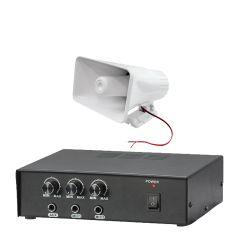 "PA system PA amplifier PA speaker - Pyle (KTPMSA20HM) Pyle 50 Watt PA Power Amplifier W/ Pair of 8"" Indoor / Outdoor 65 Watt PA Horn Speakers & Handheld Microphone w/ 6.5ft Cable"