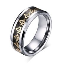 8mm Top quality New Fashion Tungsten  Carbon Fiber Masonic Freemason Rings For Men Jewelry J0198