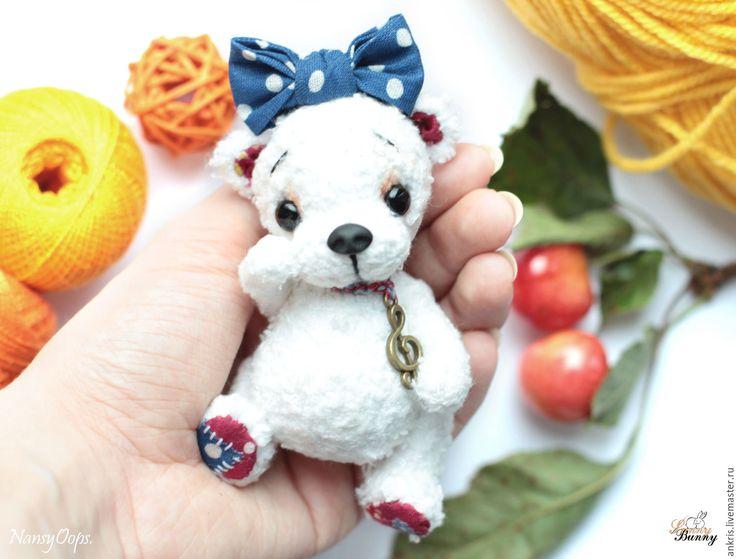 Купить белый мишка тедди Буся - белый, тедди мишка, амигуруми, мишка крючком
