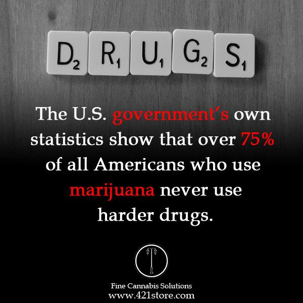 The U.S. government's own statistics show that over 75% of all Americans who use marijuana never use harder drugs