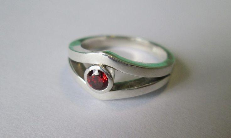 Garnet ring #silver #handmade #classicring