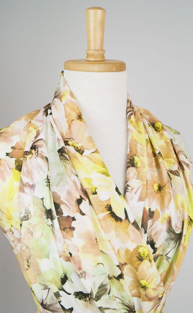 Green floral viscose fabric