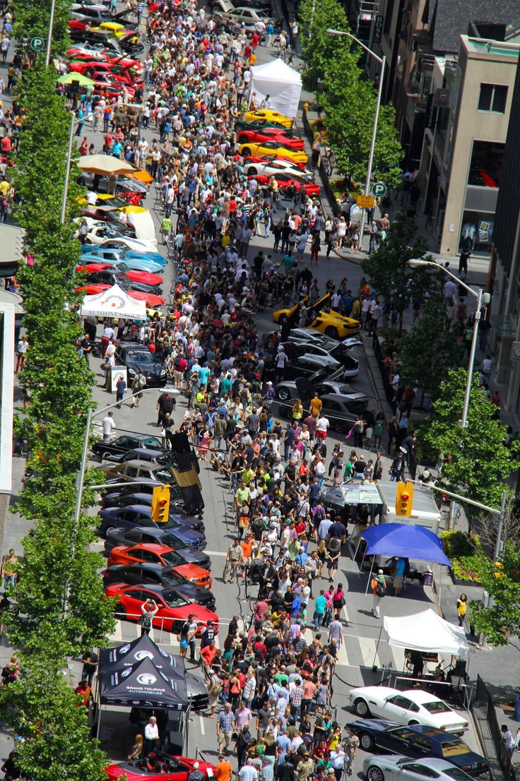 View of Bloor Street from our 18th Floor Patio.   -Photo taken of the Bloor-Yorkville Exotic Car Show.