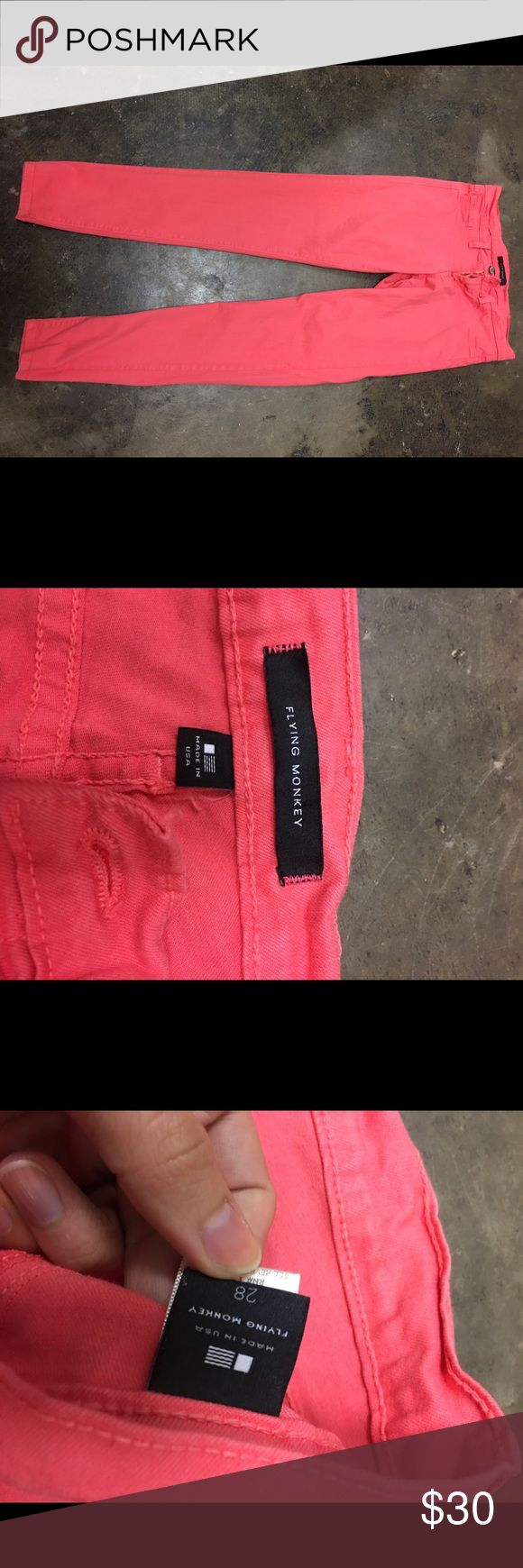 Coral pink high waisted skinny jeans Coral, high waisted, skinny jeans flying monkey Jeans Skinny