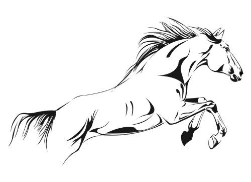 running horse vinyl wall decal sticker black 29h x 458w reverse - Wall Stickers Design Your Own