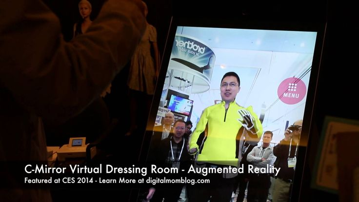 The future dressing room - a virtual dressing room, c-mirror showcased at CES 2014. You stand in front of the screen and select the outfit you want to try on.
