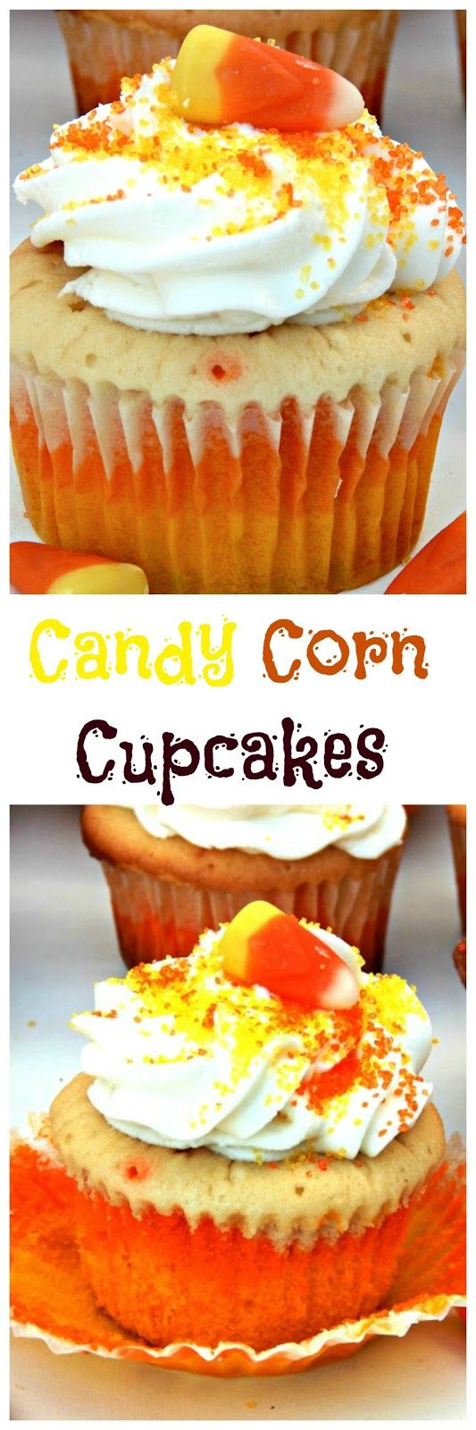 Candy Corn Cupcakes made from scratch, not a box! Delicious and moist.  www.thisolemom.com
