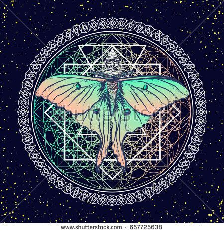 Fantasy graphic. Beautiful night moth and sacred geometry. Esoteric card. Design a poster for a t-shirt. Vector illustration EPS10.