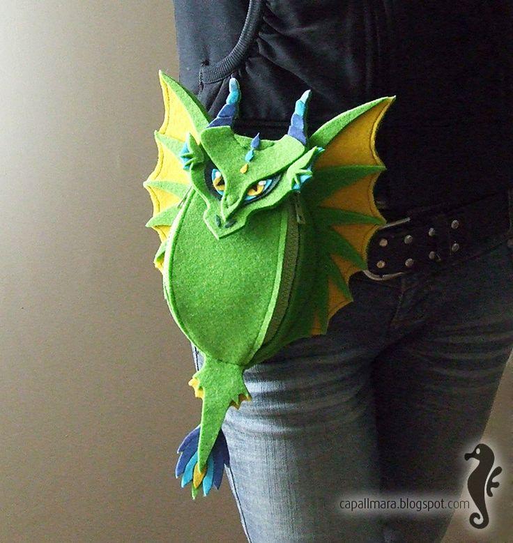 Felt dragon hip bag.