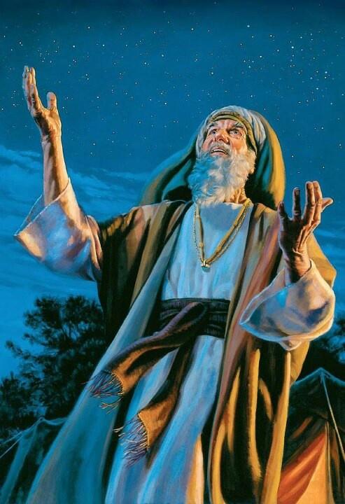 """5Nu bracht hij hem naar buiten en zei: """"Zie alstublieft omhoog naar de hemel en tel de sterren, indien gij ze mogelijkerwijs kunt tellen."""" Verder zei hij tot hem: """"Zo zal uw zaad worden. Gen15:5.(jw.org).HD."""