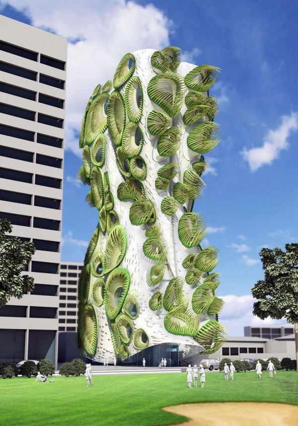 An Urban Sponge That Opens to the City - the new Sky Condos by LA based B+U #Architects > #highrise #tower #design #architecture #green