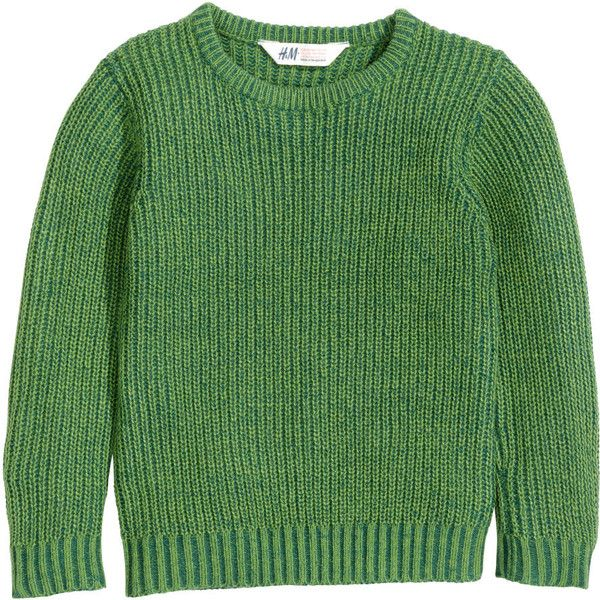 Barn Pojke Stl 92-140 ($13) ❤ liked on Polyvore featuring tops, sweaters, jumper, h&m, green jumper, green top and green sweater
