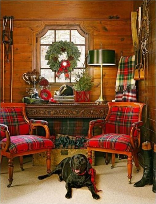 tartan upholstered chairs, polo house