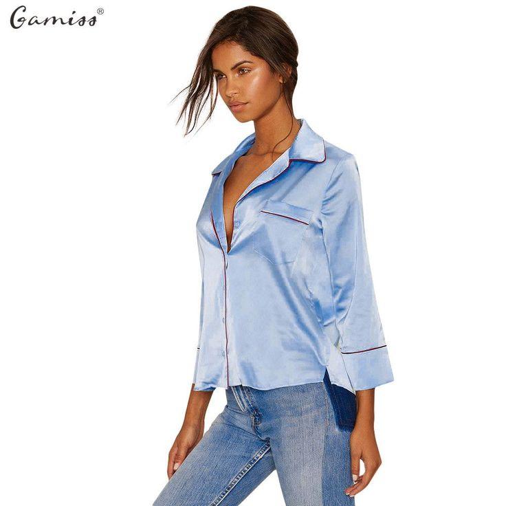 Gamiss Women Shirt Kimono Casual Turn-down Collar Long Sleeve Front Pocket Design Button Type Women Blouse Top blusas femininas