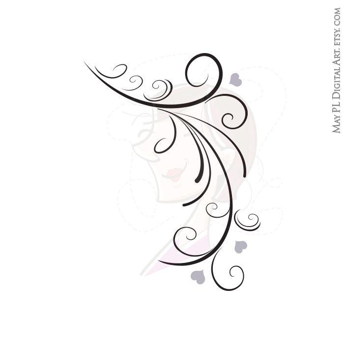 Digital Stamp Design Flourish Rose Border Corner Clip Art: Flourish Vintage Leaf Branch Borders Swirl Clip Art