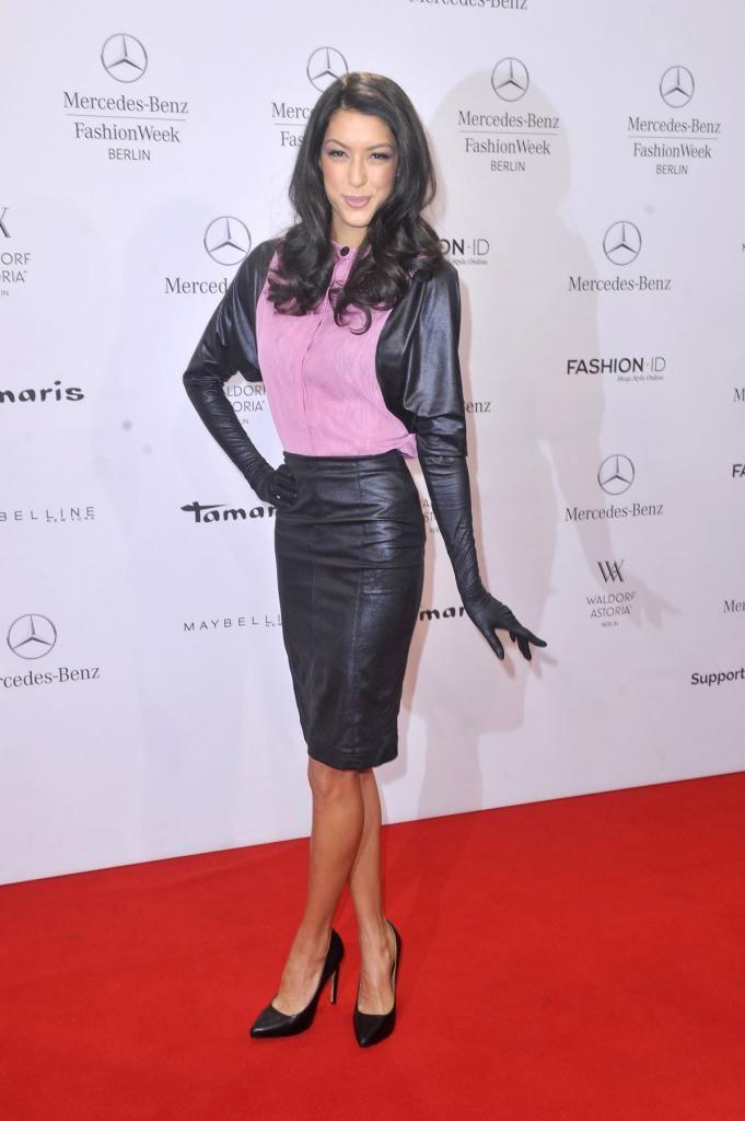 Rebecca mir attends mercedes benz fashion week leather for Mercedes benz women s jacket