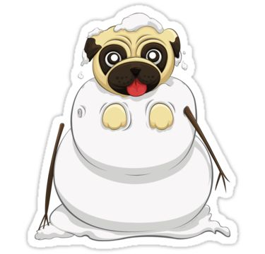 Snowman Pug Stickers by AnMGoug on Redbubble. #Winter #snowman #pug #sticker
