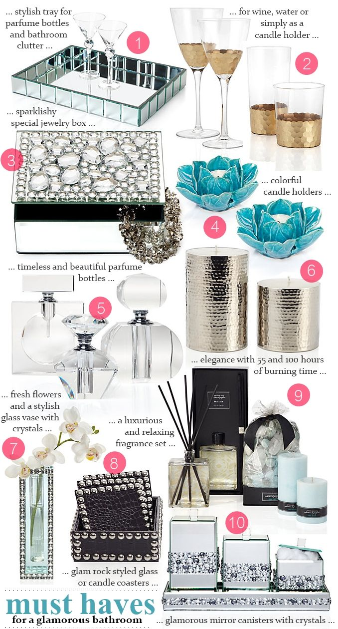 Love the mirrored tray  10 Glamorous Bathroom Must Haves <3