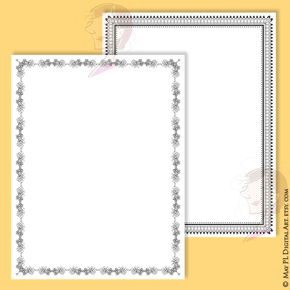 Unique 8 x 11 page borders DIY invitations or certificates #unique #uniquedesign #borders #frames #vintagestyle