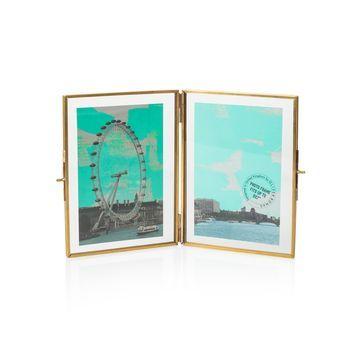 "5 x 7"" Gold & Glass Double Portrait Frame"