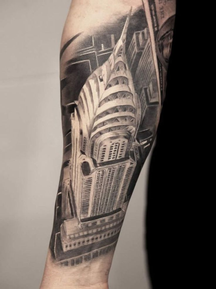 Empire State Building tattoo by Miguel Bohigues