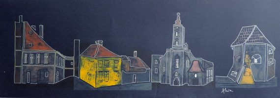 Large linocut Imaginary street front by night in by GoddessGruia