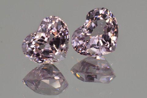 Matched Pair Platinum Light Purple Spinel. 3.07 ct. pair. Heart cut. - MdMaya Gems