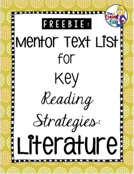 This freebie includes a list of mentor texts for inference, theme, characters, figurative language, point of view, compare/contrast