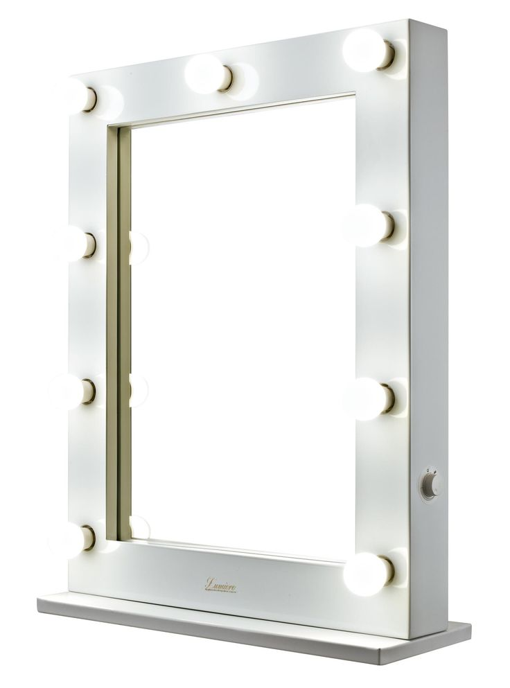 glossy white makeup mirror with light bulbs