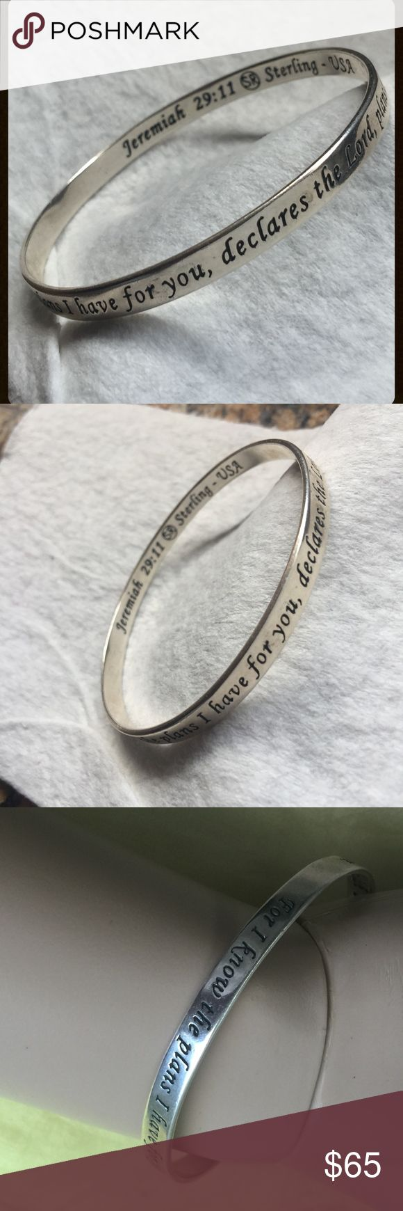 """Vintage Sterling Jeremiah 29:11 Scripture Bracelet Found this lovely, solid sterling silver scripture bangle bracelet that features comforting words from Jeremiah 29:11. The Exterior inscription reads: For I know the plans I have for you, declares the lord, plans to prosper and to give you hope and a future -  Interior inscription: Jeremiah 29:11 (SR) Sterling USA / Approx. 18.4 grams - 2-1/2"""" diameter and 7.75"""" around - Has not been cleaned but otherwise very good pre-owned, loved and word…"""