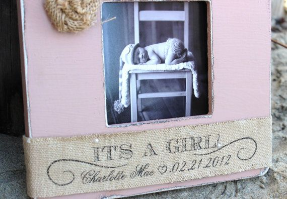 BABY GIRL Personalized Burlap Picture Frame Gift. by CrystalCoveDS, $28.00