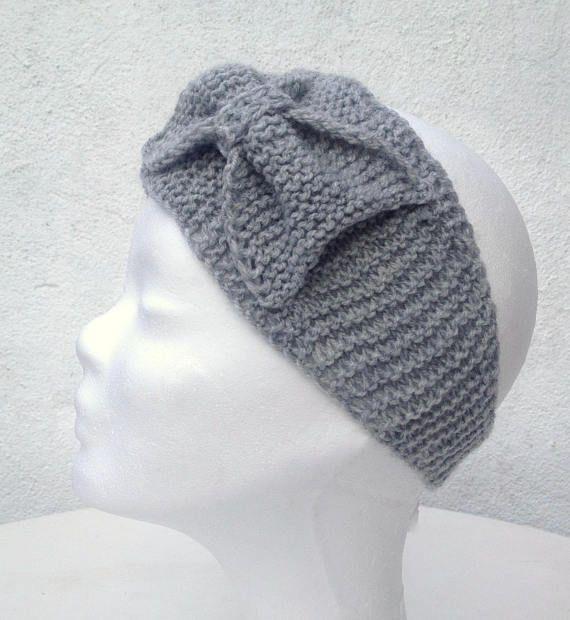 Hand knitted headband discreet bow headband Earwarmer