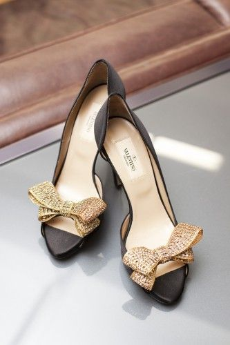 Valentino black heels with gold glitter bow. So pretty! - Style Shoes