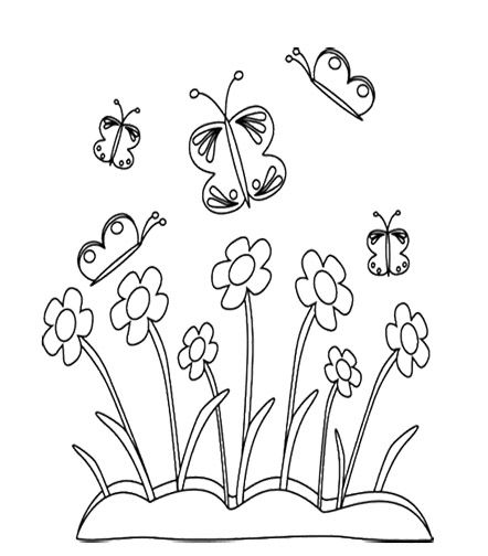 April Spring Flower And Butterfly Coloring Page For Kids
