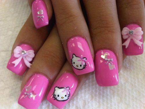 hello kitty: Nails Art, Cute Nails, Nails Design, Nailart, Pink Nails, Nailsart, Naildesign, Nails Ideas, Hello Kitty Nails