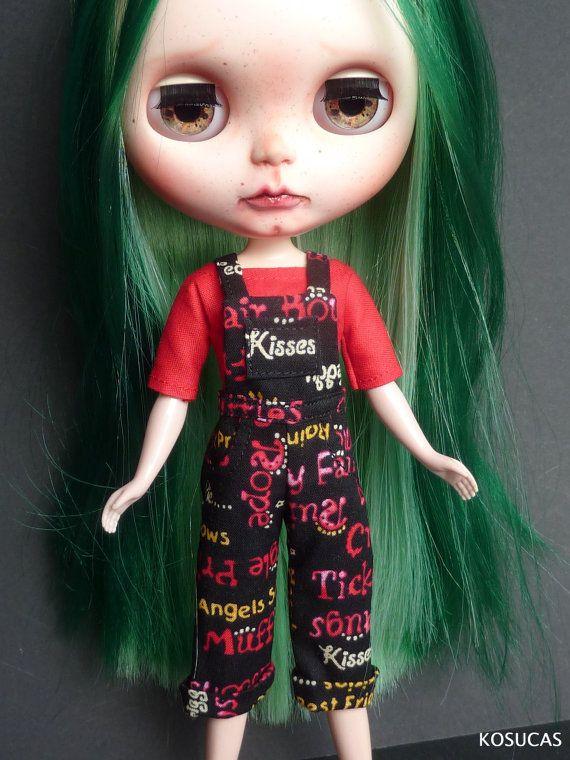 Overall and t-shirt for Neo Blythe dolls. por Kosucas en Etsy
