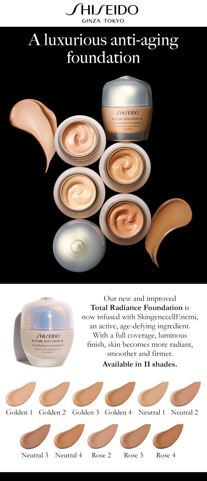 Our new and improved Total Radiance Foundation is now infused with SkingenecellEnmei, an active, #age-defying ingredient. With a full #coverage, luminous finish, skin becomes more #radiant, smoother and #firmer.  #JapaneseSkincare #antiaging
