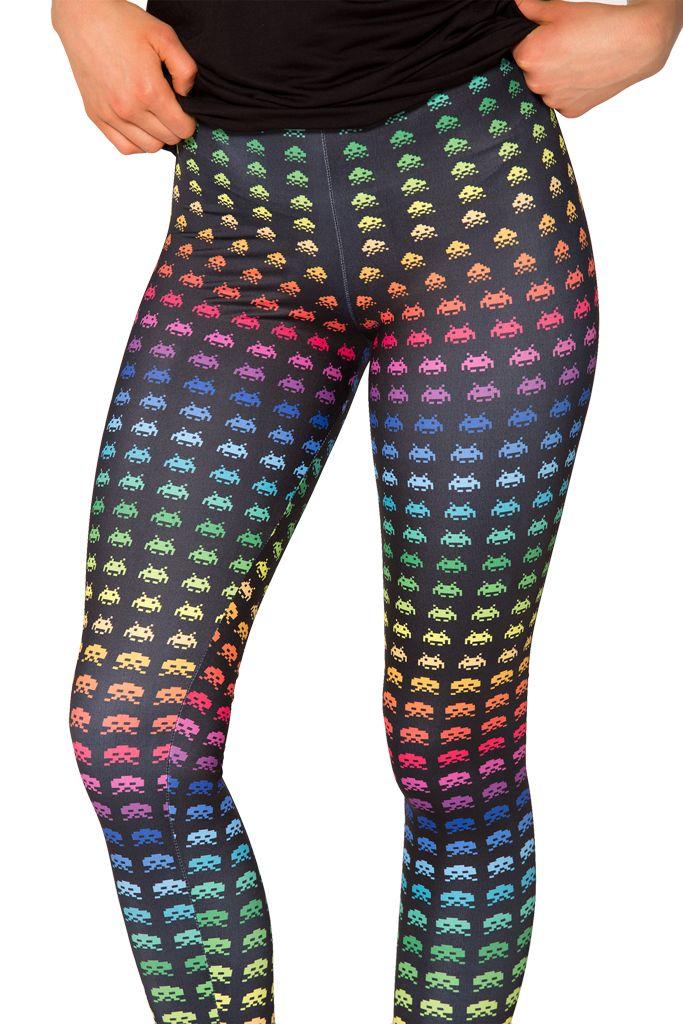 Rainbow Space Invaders Leggings (WW $85AUD / US $80USD) by Black Milk Clothing